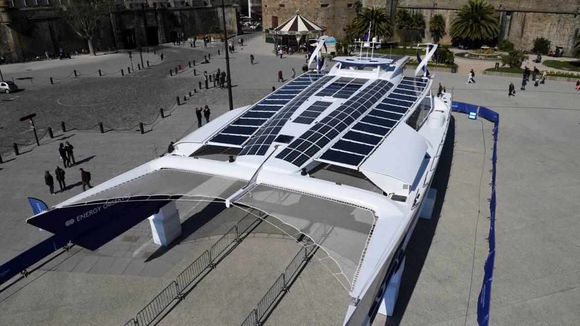 Saint-Malo : mise à l'eau du catamaran écolo Energy Observer