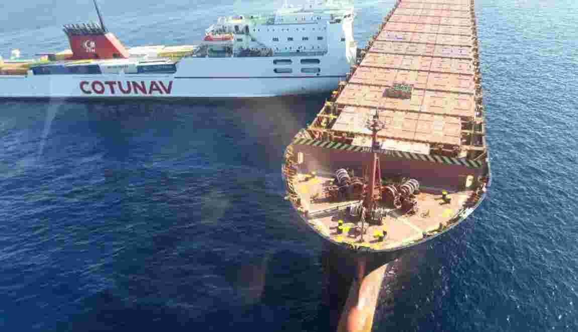 Collision en mer: échec de la tentative de désincarcération du navire tunisien
