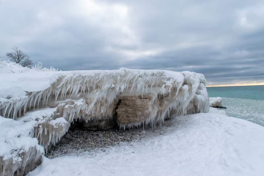 Une plage glacée