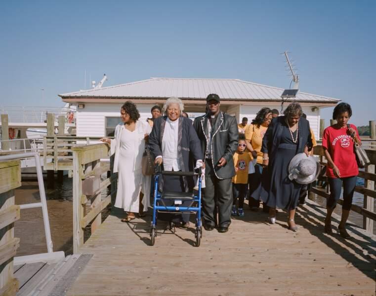 Sur le ferry qui mène à Sapelo island