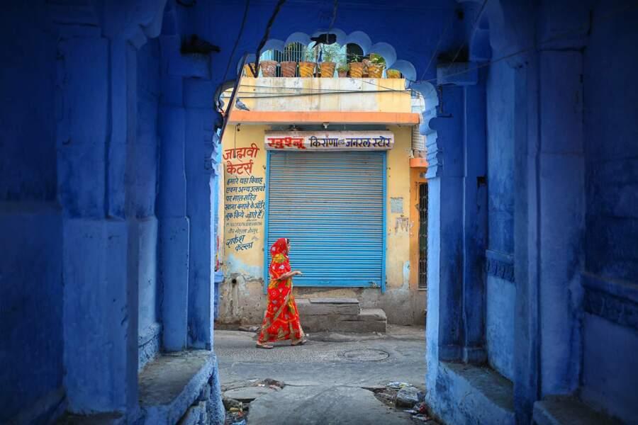Murs bleus de la ville de Jodphur, en Inde