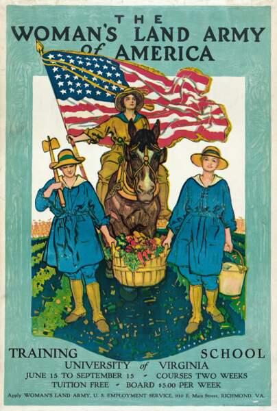 « L'armée des femmes de la terre d'Amérique. » Herbert Andrew Paus. 1918, États-Unis