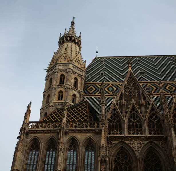 La cathédrale gothique de Saint-Etienne avec ses tuiles colorées aux formes géométriques