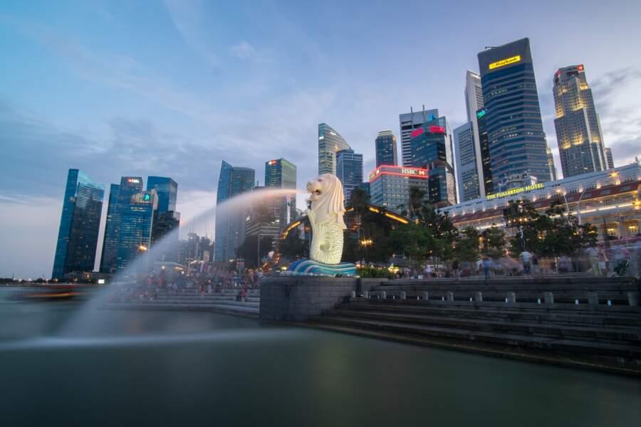Le Merlion, symbole de la ville de Singapour