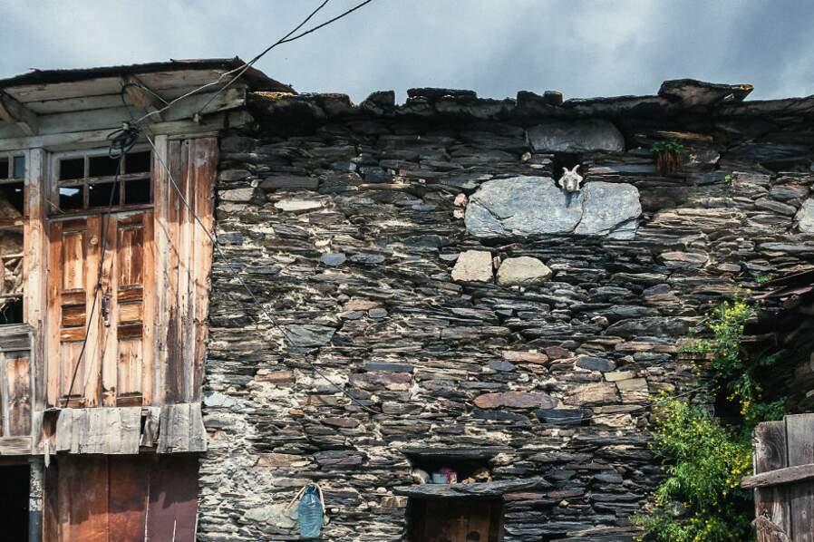 Une chèvre regarde par la fenêtre, à Ouchgouli
