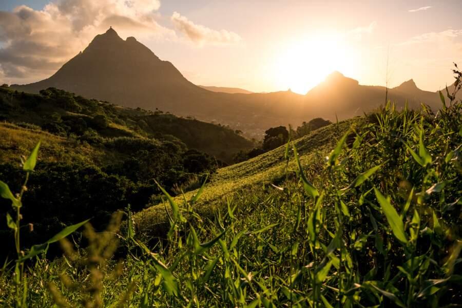 La montagne Pieter Both, reconnaissable au rocher posée à son sommet, depuis le village de Crève Cœur