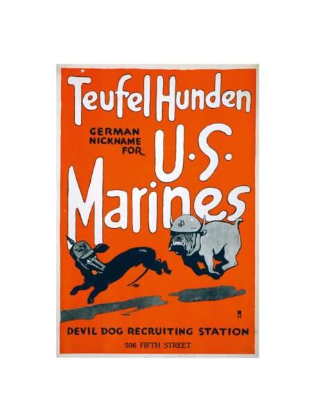 « Teufel Hunden (surnom des Allemands pour les Marines). » Artiste inconnu. 1917, États-Unis