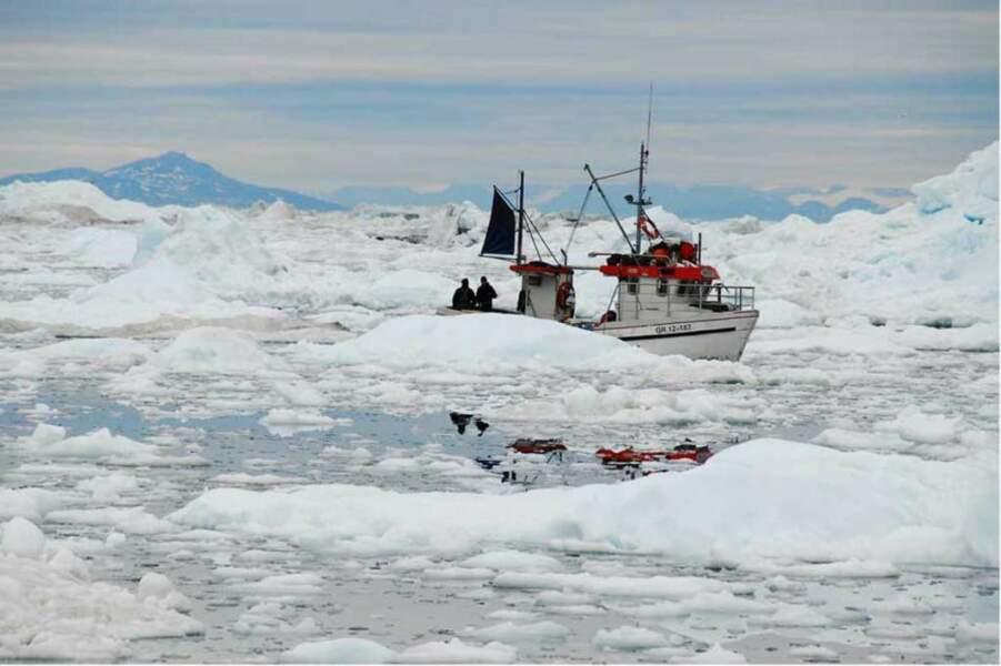 Petit bateau dans la mer glacée à Ilulissat