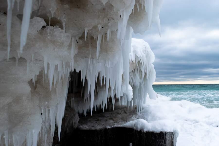 Un bout de glace vu de près