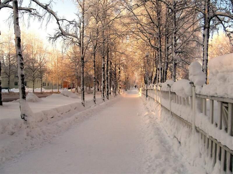 Rue enneigée de Jokkmokk, en Suède