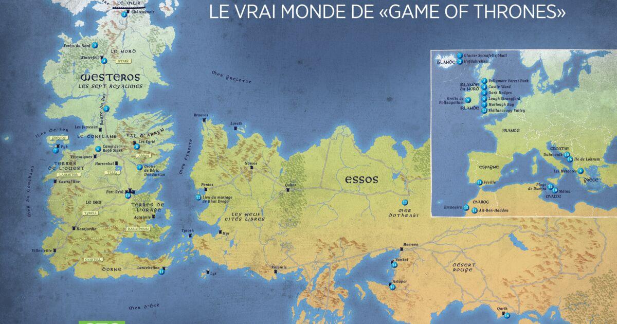 Décors fous de la série culte Game of Thrones : la carte
