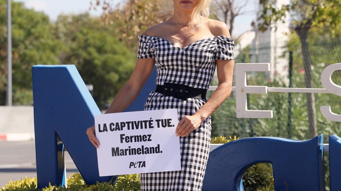 Pamela Anderson dénonce la captivité des animaux devant le Marineland d'Antibes