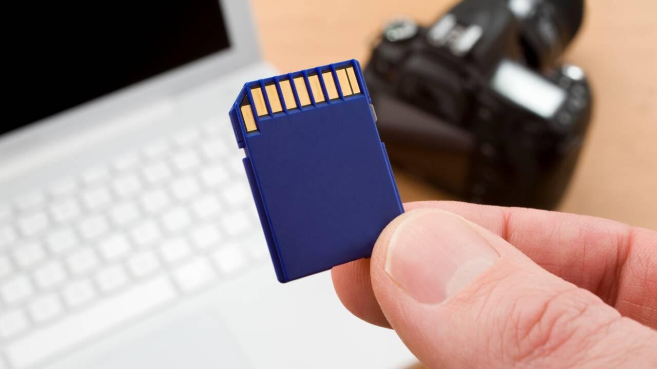 La carte mémoire d'un appareil photo