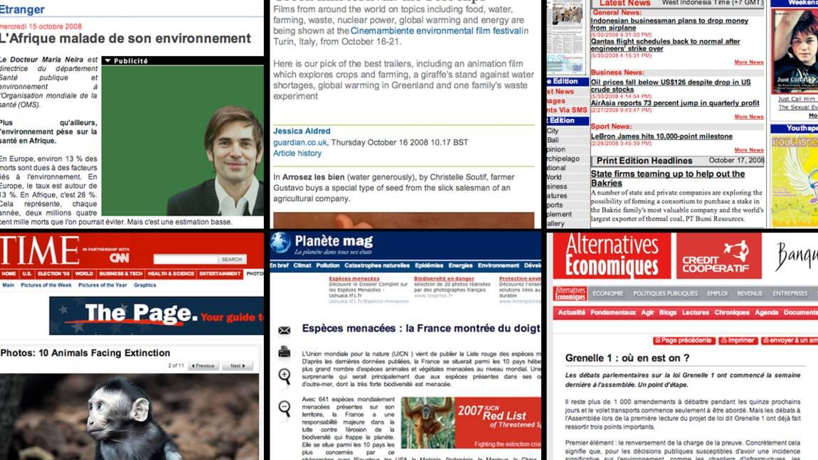 Revue de presse environnement du 10 au 17 octobre 2008