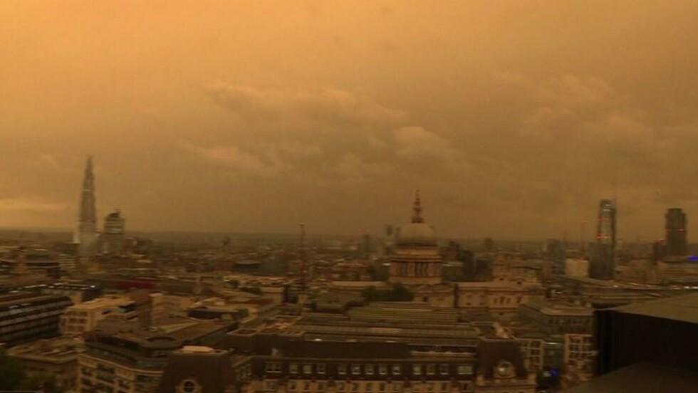 Tempête Ophelia: ciel jaune à Londres