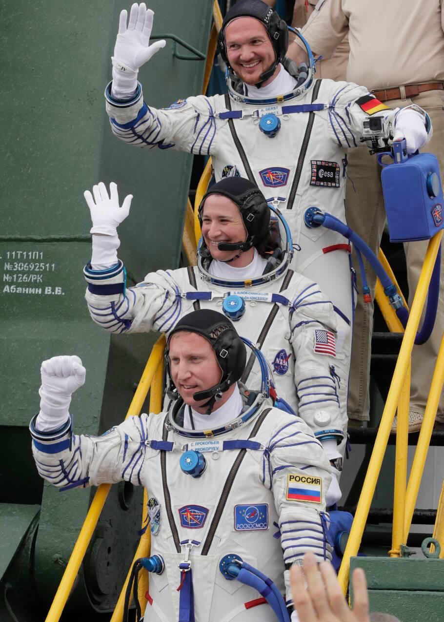 Trois astronautes en route vers l'ISS à bord d'une fusée Soyouz