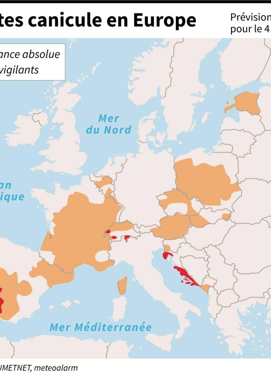 Quelques précédents coups de chaud record en Europe