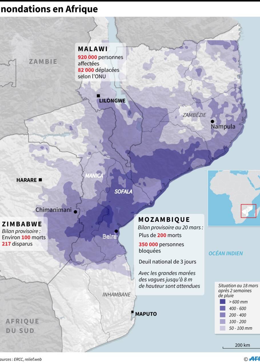 Cyclone en Afrique australe: les secours s'organisent difficilement