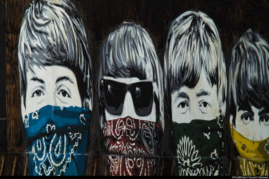 Fresque des Beatles. New Oxford Street, Londres
