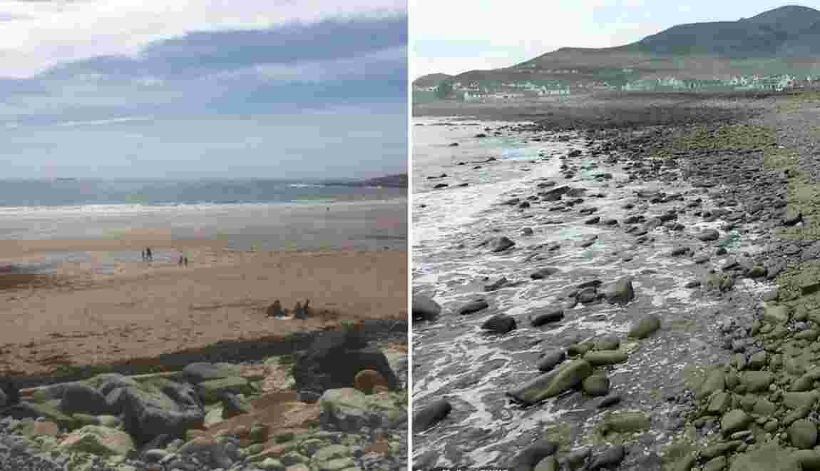 Une plage irlandaise réapparaît avant de disparaître à nouveau