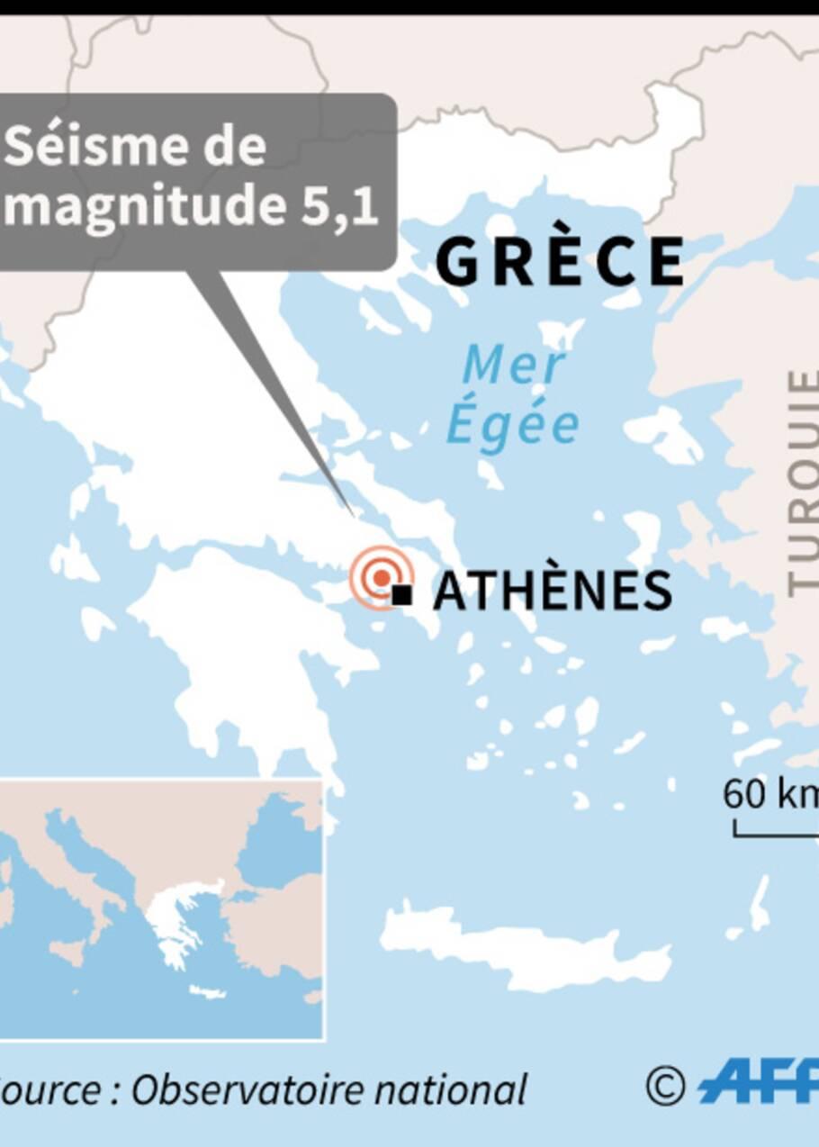 Un séisme de magnitude 5,1 secoue Athènes, quelques dégâts
