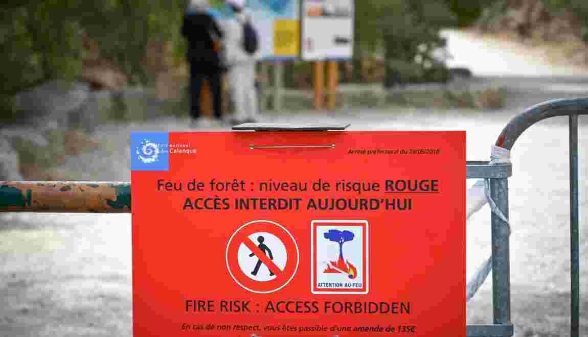 Risque maximum d'incendie dans le Sud-Est: les vacanciers interdits de Calanques