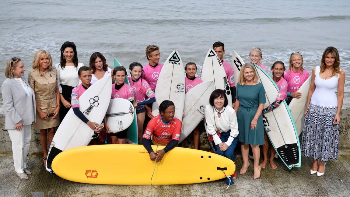 """G7: surf et protection des océans au menu des """"premières dames"""" à Biarritz"""