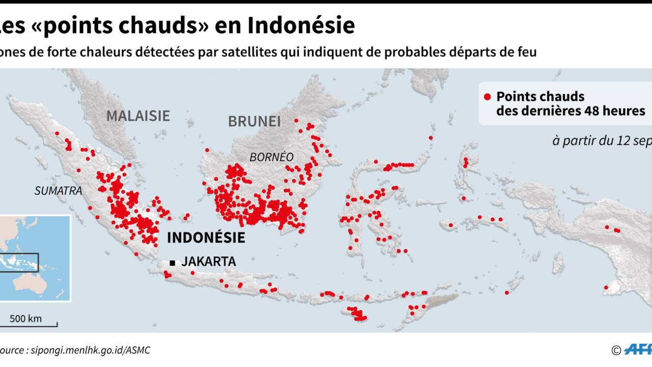 Indonésie: les pompiers luttent sans relâche contre les feux