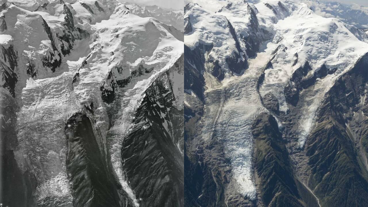 Des photos aériennes révèlent comment des glaciers du Mont-Blanc ont changé en 100 ans