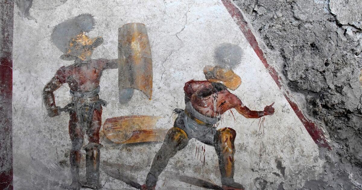 Une fresque montrant deux gladiateurs en plein combat découverte dans les ruines de Pompéi