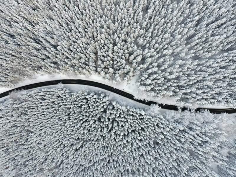 Route gelée de Vidly, en République tchèque