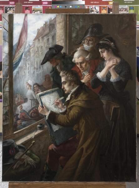 Le peintre David dessinant Marie-Antoinette conduite au supplice, 1793