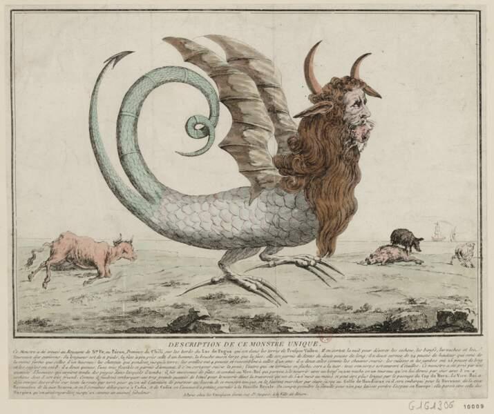"""""""Description de ce monstre unique"""", Joseph-Alexandre Le Campion, 1784."""