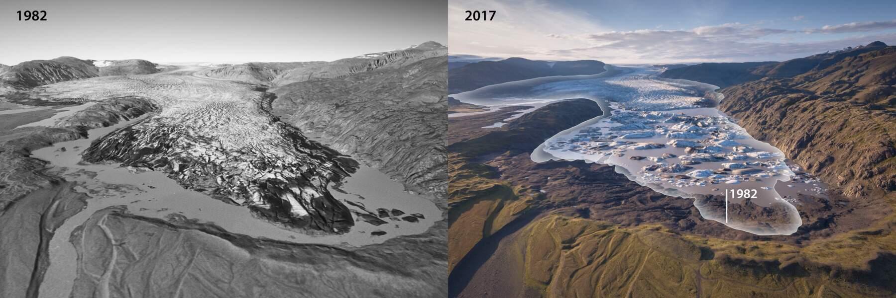 Hoffellsjökull (encore lui) en 1982 et en 2017