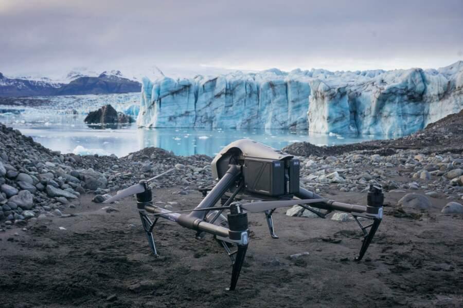 Prêt à survoler le Breiðamerkurjökull