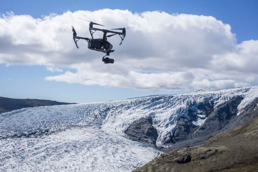 Vol au-dessus d'un nid de glaciers