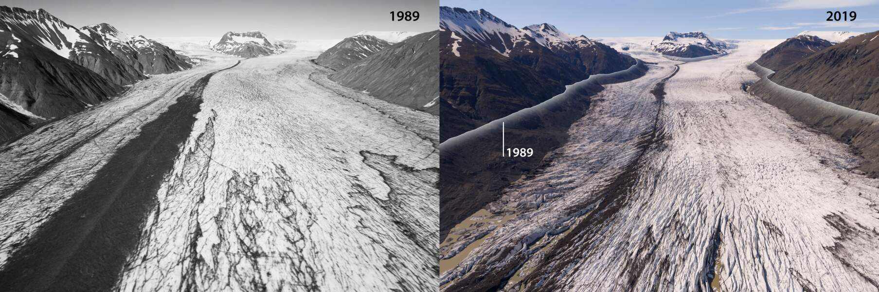 Le glacier Heinabergsjökull en 1989 et en 2019