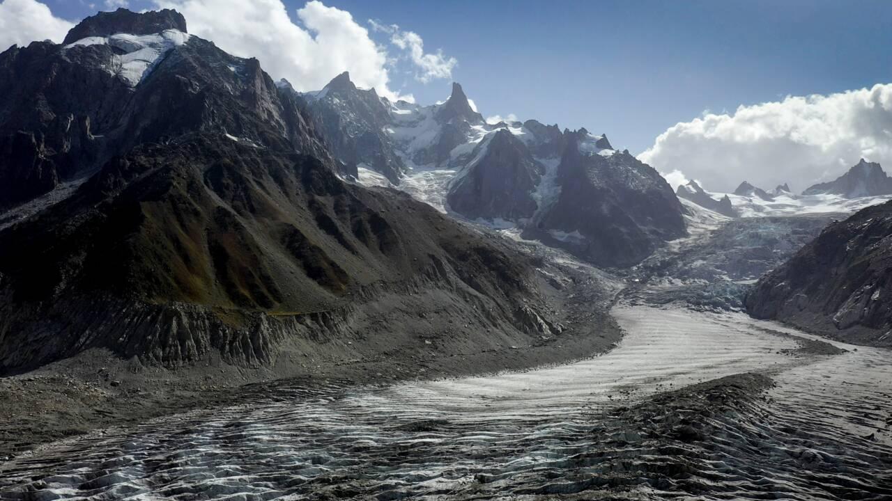 """1919-2019: l'""""indéniable"""" débâcle des glaciers du Mont-Blanc vu du ciel"""