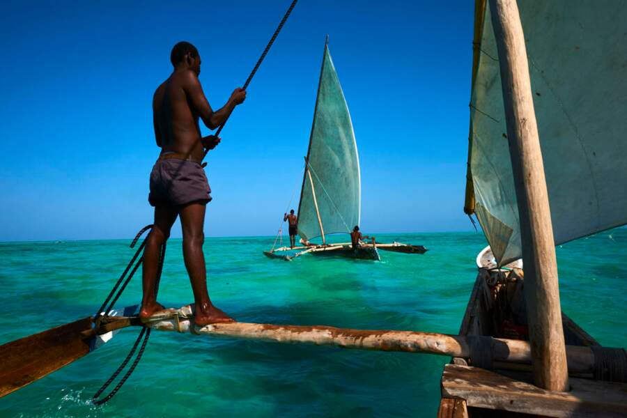 """Au large de Jambiani (sud-est de l'île d'Unguja), des hommes pêchent à bord de """"dhows"""""""
