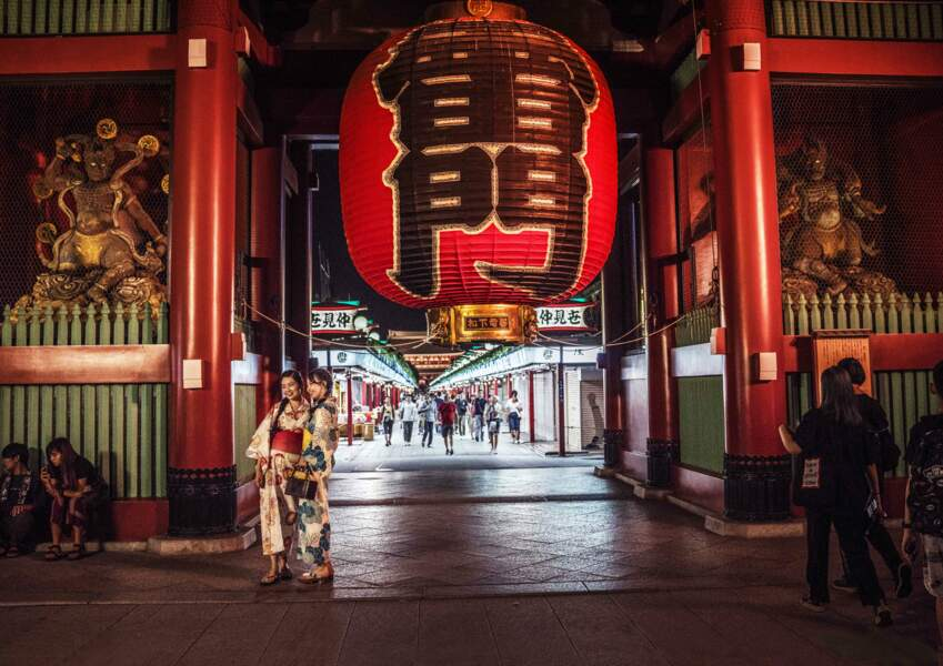 Scène typique du quartier traditionnel d'Asakusa