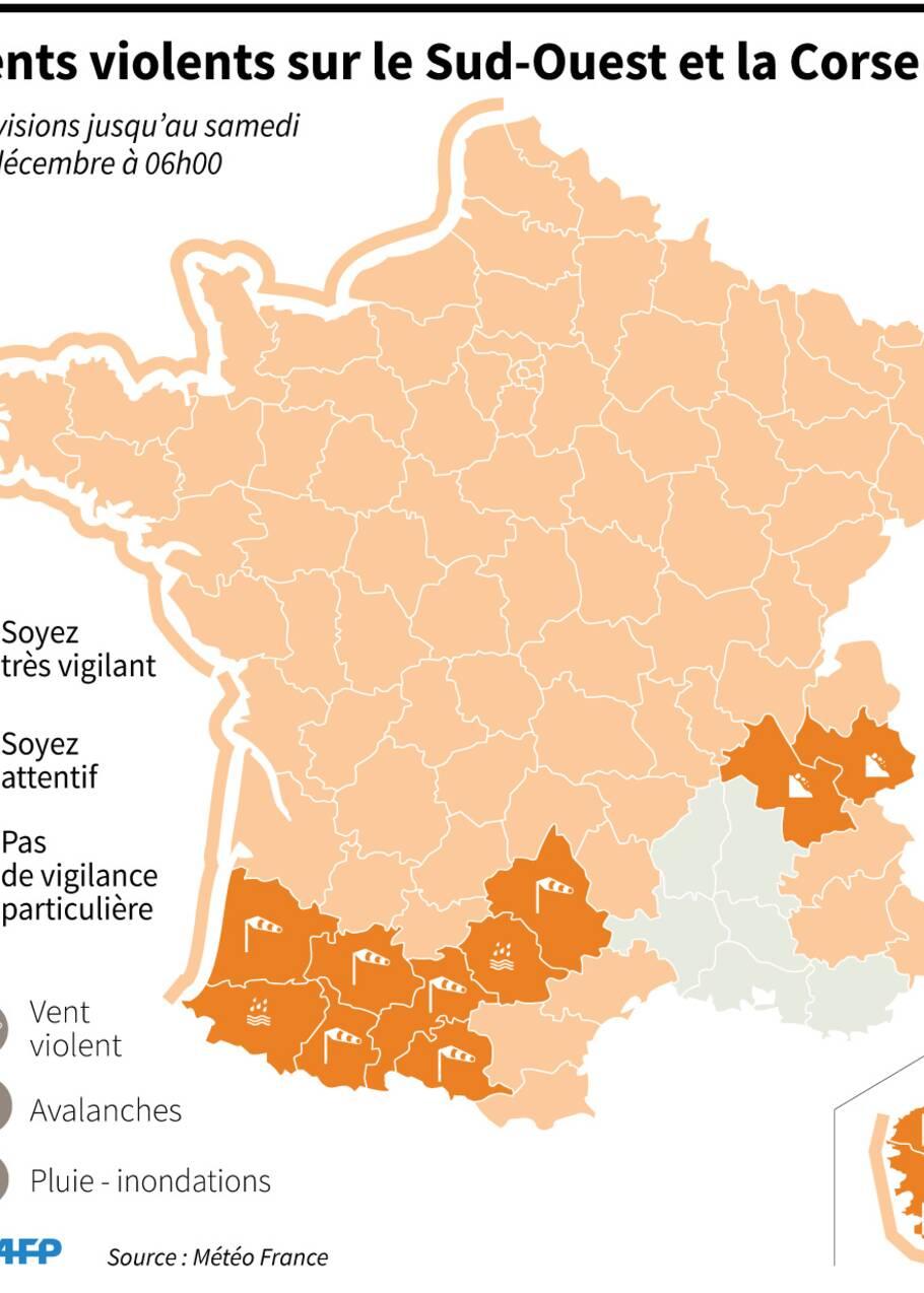 Vents violents sur le Sud-Ouest: au moins 220.000 foyers sans électricité