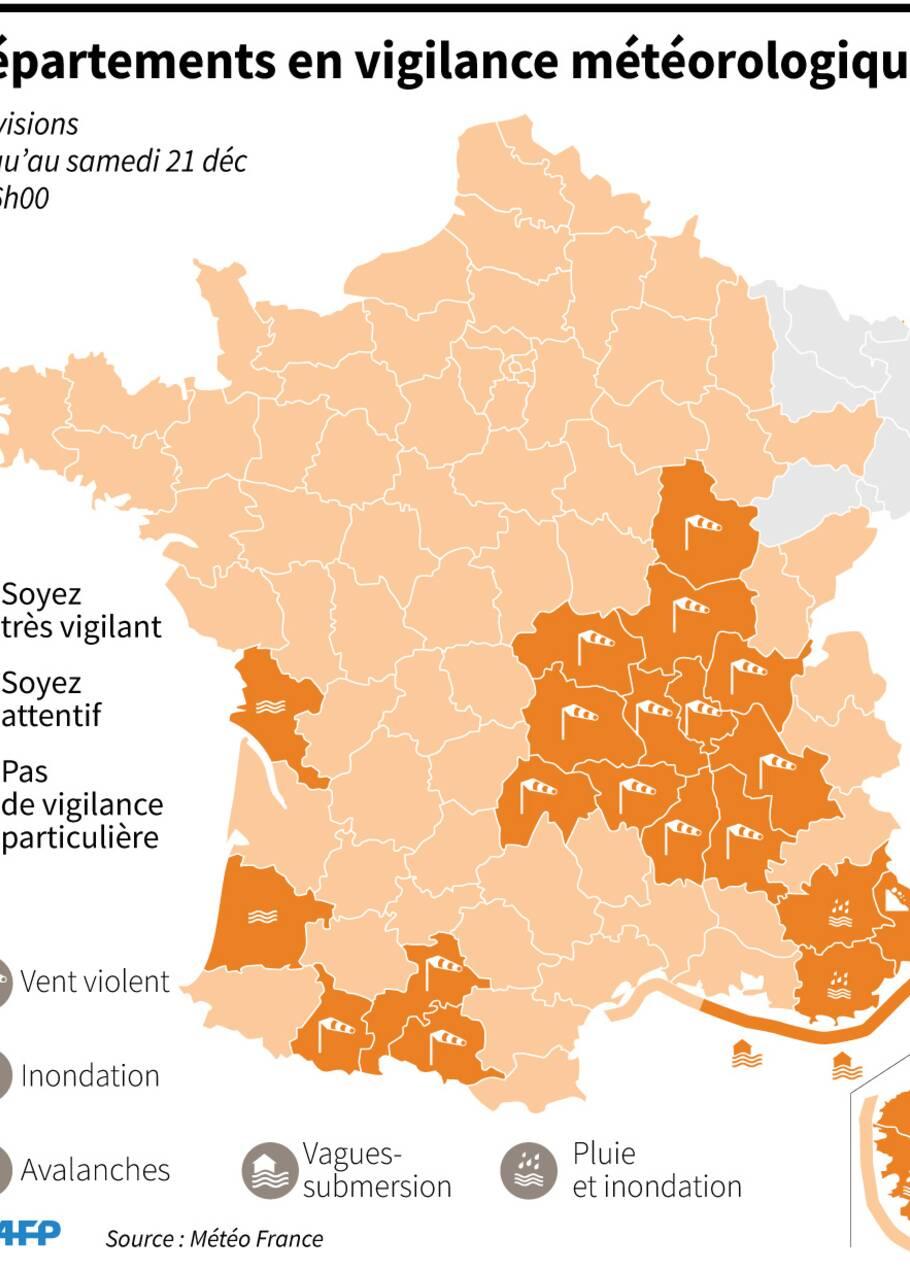 Pluie et vents violents: 6 départements du Sud-Est restent en vigilance orange