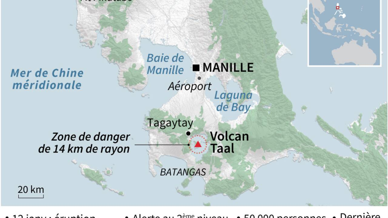 Volcan philippin: le risque demeure élevé en dépit d'une accalmie