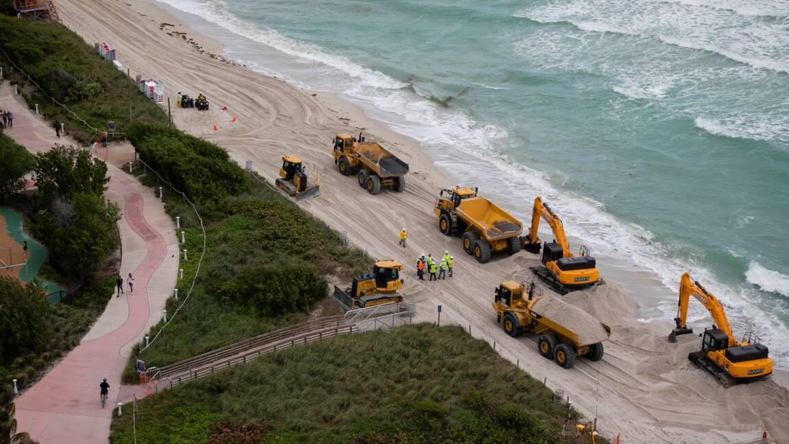 Des tonnes de sable déversées à Miami Beach pour lutter contre l'érosion de la plage