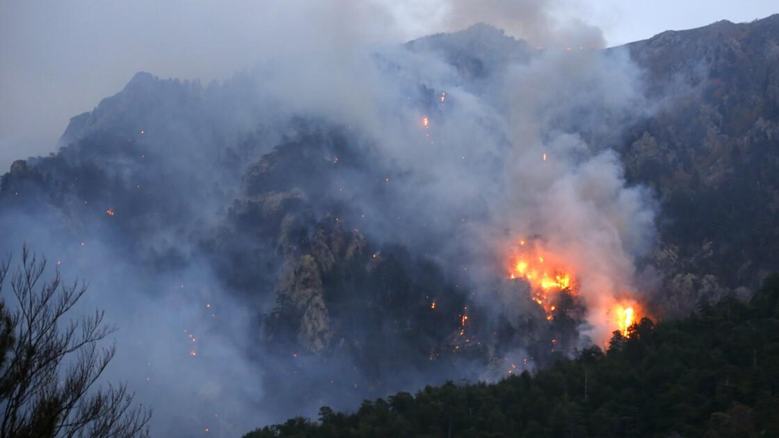 """Incendie """"contenu"""" en Corse, pompiers et bombardiers d'eau luttent toujours"""