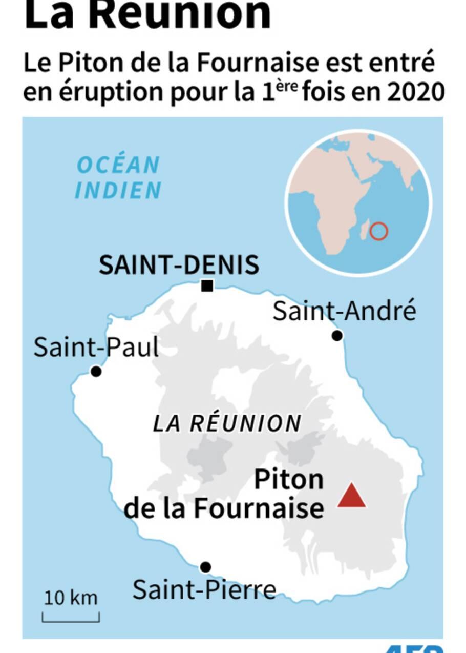 La Réunion: le Piton de la Fournaise est entré en éruption