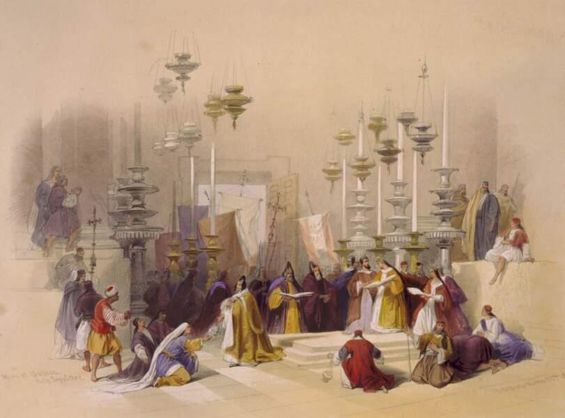 La pierre de l'onction Saint-Sépulcre, 1839