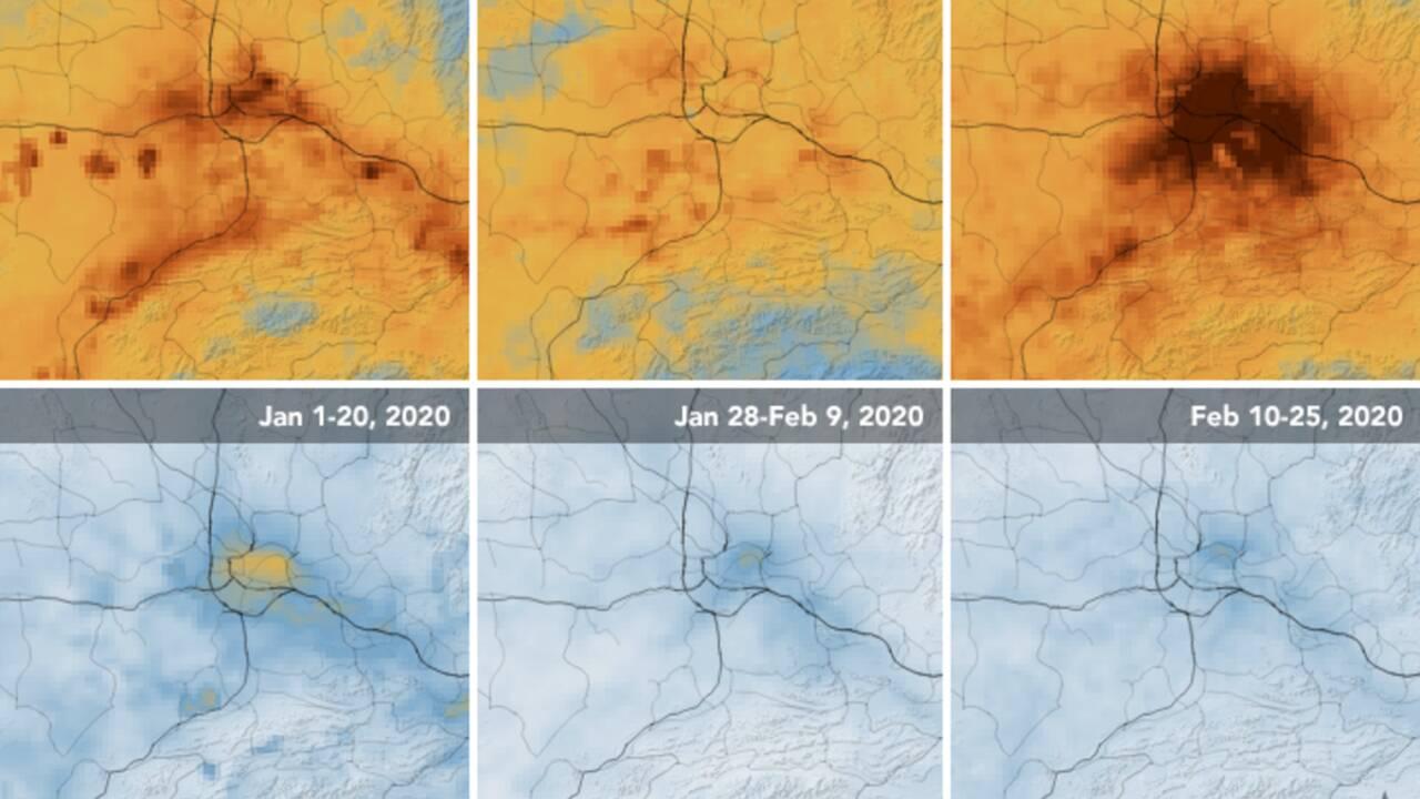 Le coronavirus fait chuter la pollution en Chine, selon des images de la Nasa