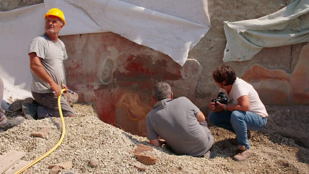La découverte d'une fresque avec Adonis et Venus