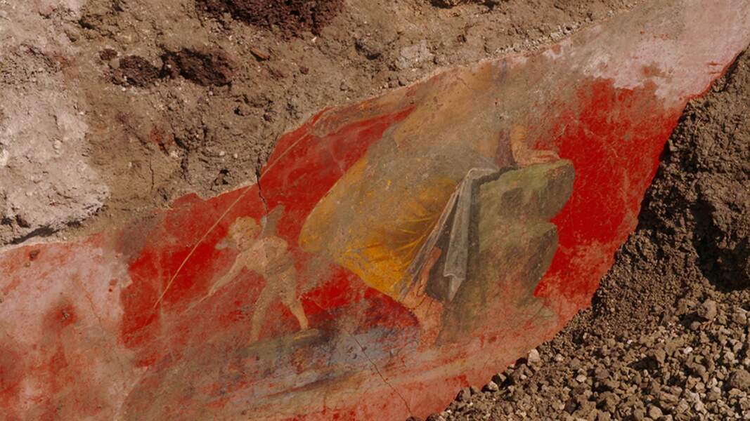 Fresque avec Vénus et le pêcheur Eros